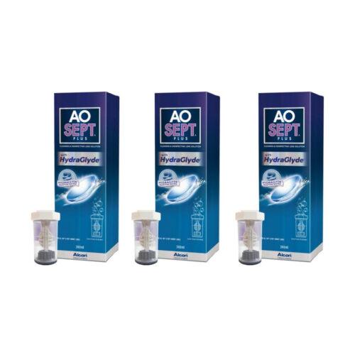 Zestaw: Aosept Plus Hydraglyde 3x360 ml