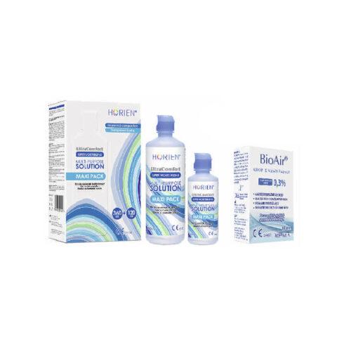 Zestaw: Horien Multi-Purpose Solution 360+120 ml + Krople BioAir 10 ml