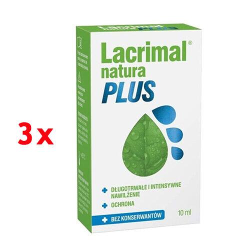 Zestaw: Lacrimal Natura Plus krople do oczu 3×10 ml