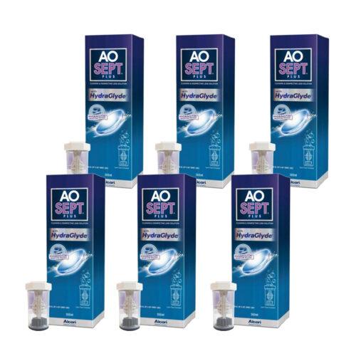 Zestaw: Aosept Plus Hydraglyde 6×360 ml
